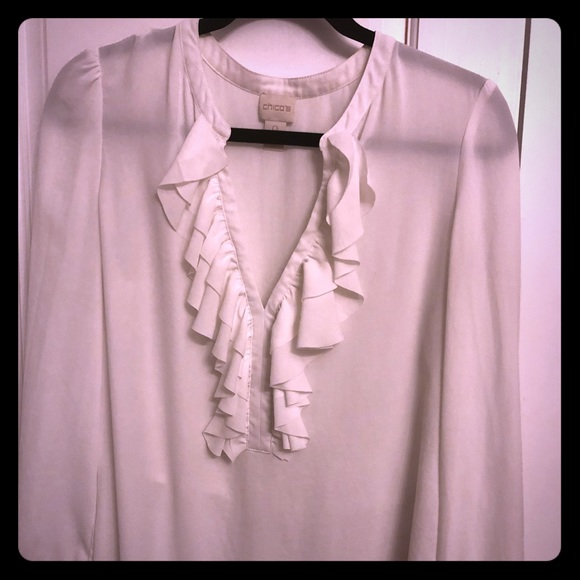 9f1840a8f90 Chico's Tops | Beautiful Off White Cream Ruffled Blouse Chicos 0 ...